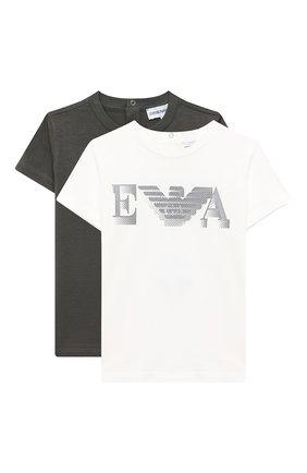 Детский комплект из двух футболок EMPORIO ARMANI белого цвета, арт. 6HHD22/4J09Z | Фото 1