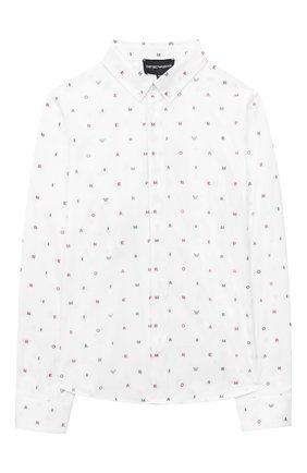 Детская хлопковая рубашка EMPORIO ARMANI белого цвета, арт. 6H4C80/1NC1Z   Фото 1