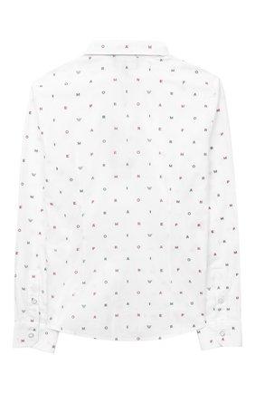 Детская хлопковая рубашка EMPORIO ARMANI белого цвета, арт. 6H4C80/1NC1Z   Фото 2