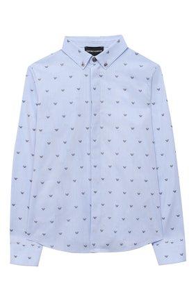 Детская хлопковая рубашка EMPORIO ARMANI светло-голубого цвета, арт. 6H4C80/1NC1Z   Фото 1
