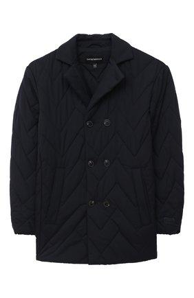 Детского стеганая куртка EMPORIO ARMANI темно-синего цвета, арт. 6H4BD3/1NLRZ   Фото 1