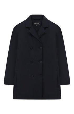Детское двубортное пальто EMPORIO ARMANI темно-синего цвета, арт. 6H3B04/1NLRZ   Фото 1