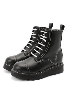 Детские кожаные ботинки EMPORIO ARMANI черного цвета, арт. XXN004/X0I35/28-34 | Фото 1