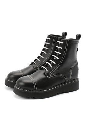 Детские кожаные ботинки EMPORIO ARMANI черного цвета, арт. XXN004/X0I35/35-40 | Фото 1