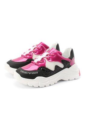 Детские кожаные кроссовки EMPORIO ARMANI розового цвета, арт. XYX008/X0I38/28-34 | Фото 1