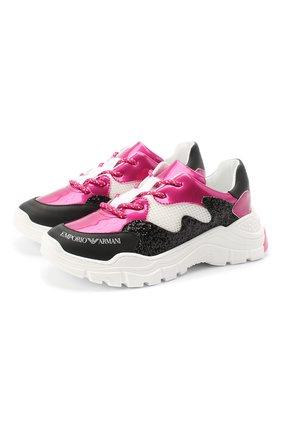 Детские кожаные кроссовки EMPORIO ARMANI розового цвета, арт. XYX008/X0I38/35-40 | Фото 1
