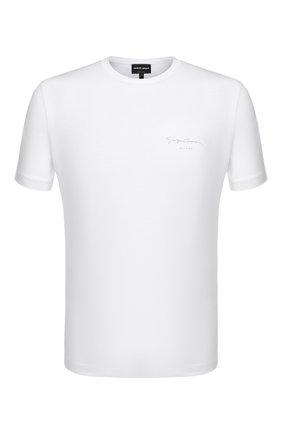 Мужская хлопковая футболка GIORGIO ARMANI белого цвета, арт. 3HSM75/SJMCZ | Фото 1