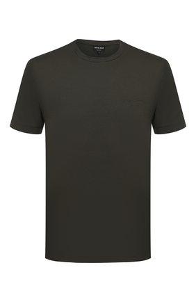 Мужская хлопковая футболка GIORGIO ARMANI хаки цвета, арт. 3HSM75/SJMCZ | Фото 1