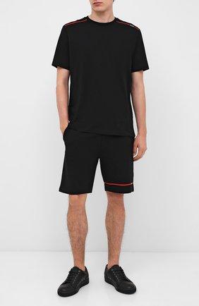 Мужские хлопковые шорты HUGO черного цвета, арт. 50432048 | Фото 2
