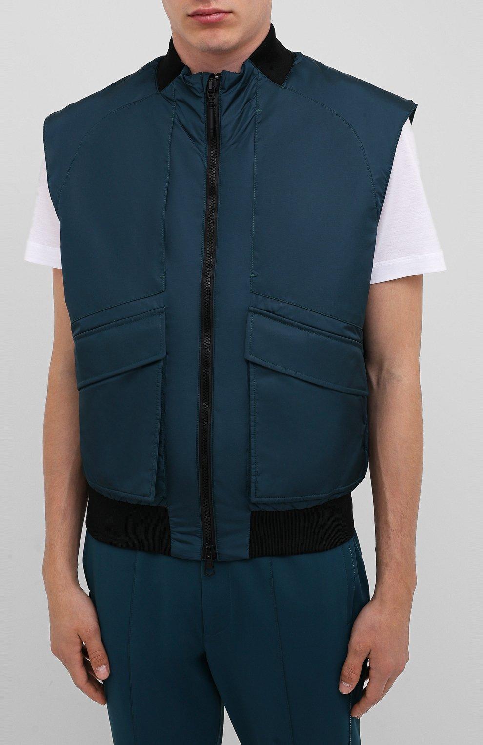 Мужской жилет CROW'S EYE темно-бирюзового цвета, арт. LE 65   Фото 3 (Кросс-КТ: Куртка; Материал внешний: Синтетический материал; Стили: Спорт-шик; Материал подклада: Синтетический материал; Мужское Кросс-КТ: Верхняя одежда; Длина (верхняя одежда): Короткие)