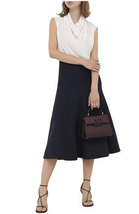 Женская юбка из шерсти и шелка VALENTINO синего цвета, арт. UB3RA6951CF | Фото 2