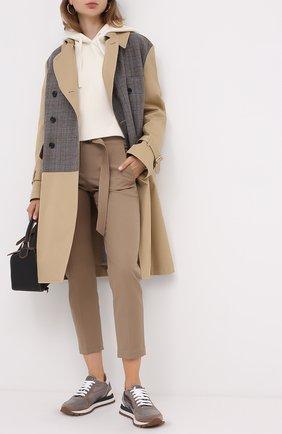 Женские комбинированные кроссовки BRUNELLO CUCINELLI хаки цвета, арт. MZSFG1851P | Фото 2