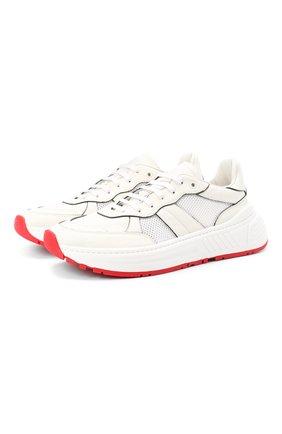 Мужские комбинированные кроссовки BOTTEGA VENETA белого цвета, арт. 565646/VJE21 | Фото 1