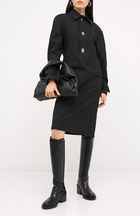 Женское хлопковое платье BOTTEGA VENETA черного цвета, арт. 628010/VKPB0 | Фото 2