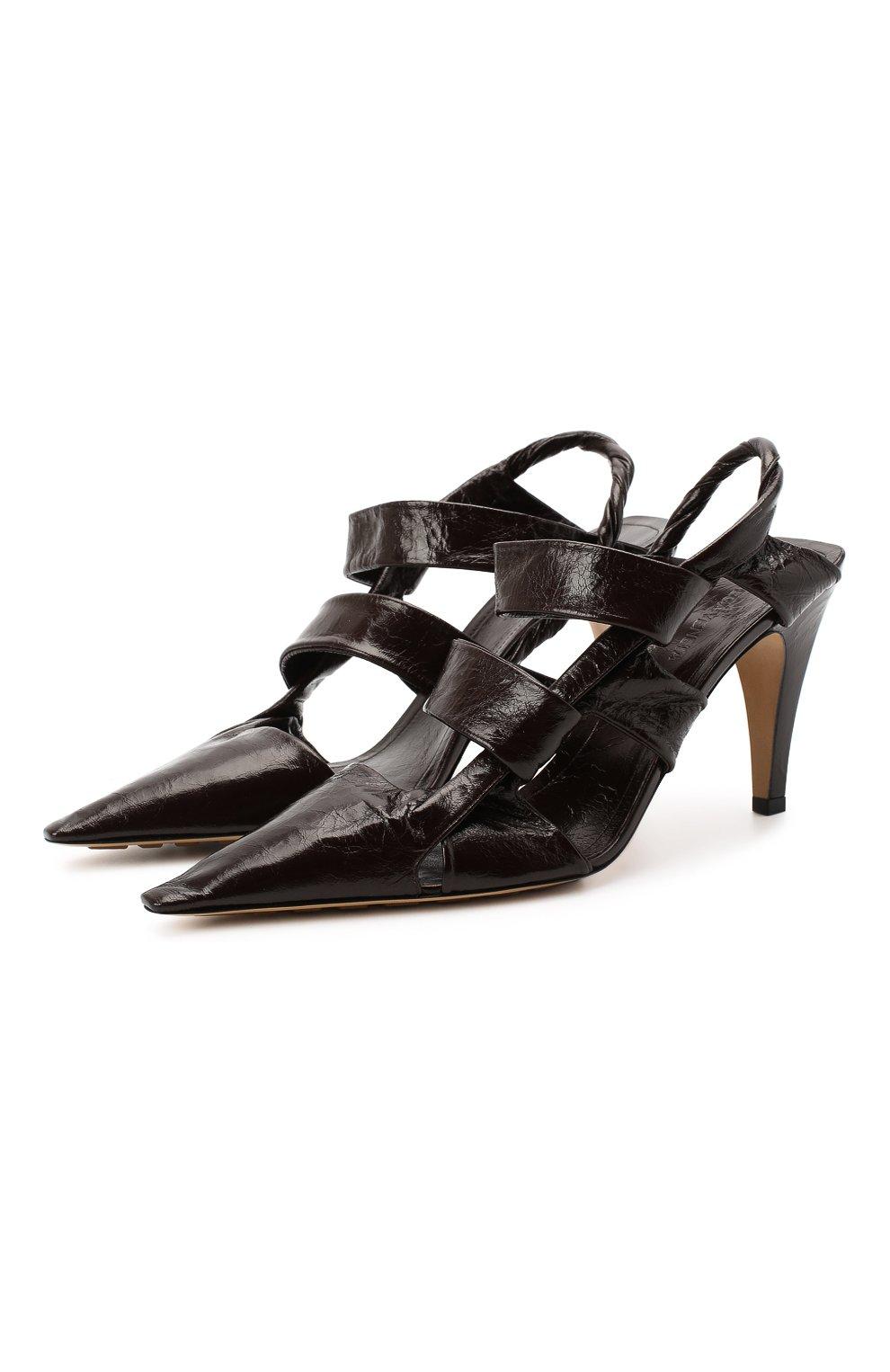 Женские кожаные туфли bv point BOTTEGA VENETA темно-коричневого цвета, арт. 630187/VBP10 | Фото 1