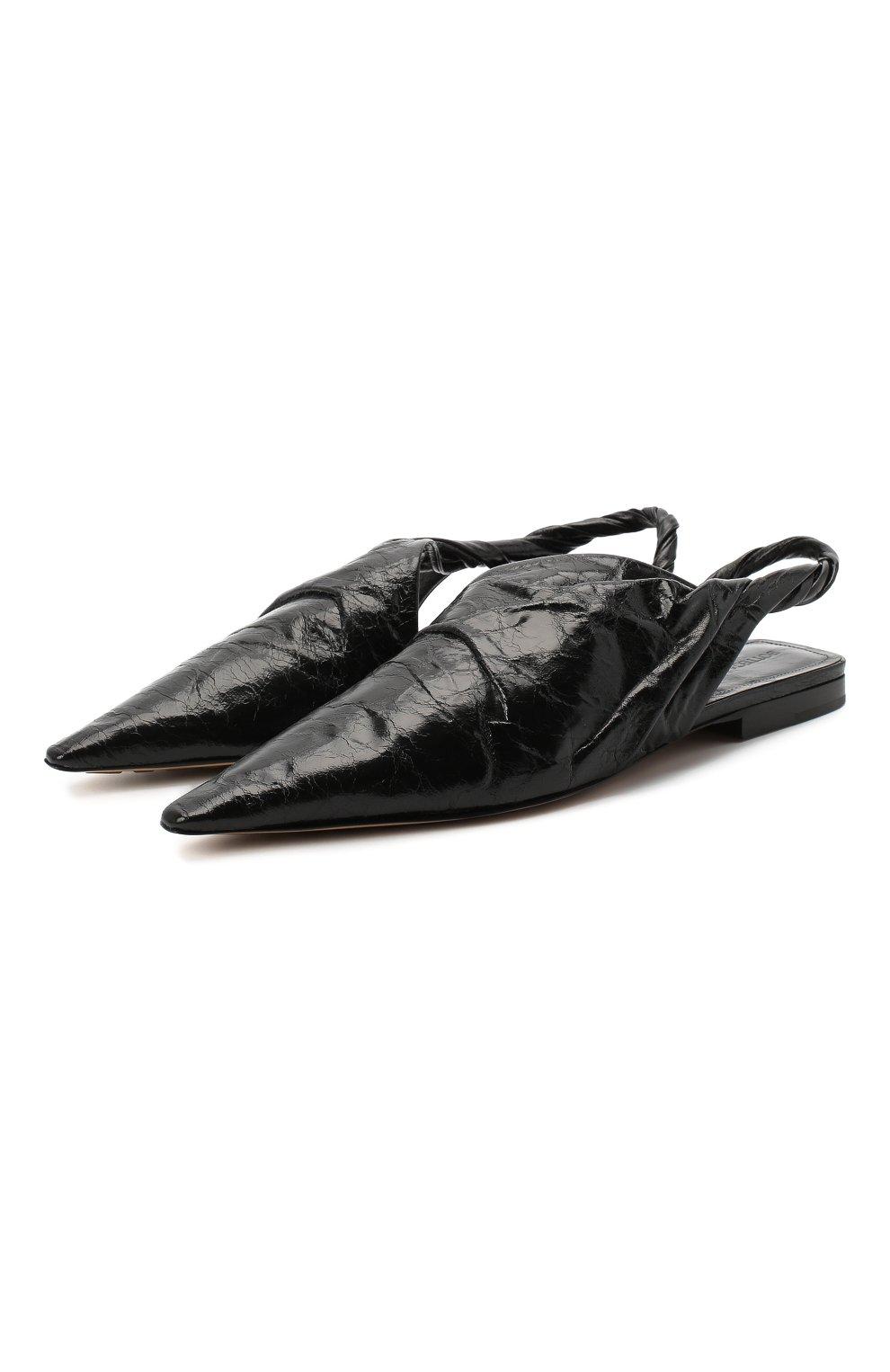 Женские кожаные балетки bv point BOTTEGA VENETA черного цвета, арт. 630184/VBP10 | Фото 1