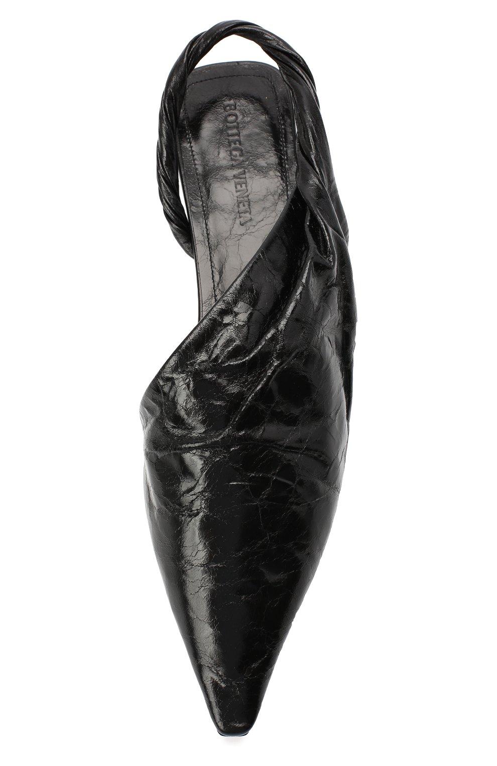 Женские кожаные балетки bv point BOTTEGA VENETA черного цвета, арт. 630184/VBP10 | Фото 5