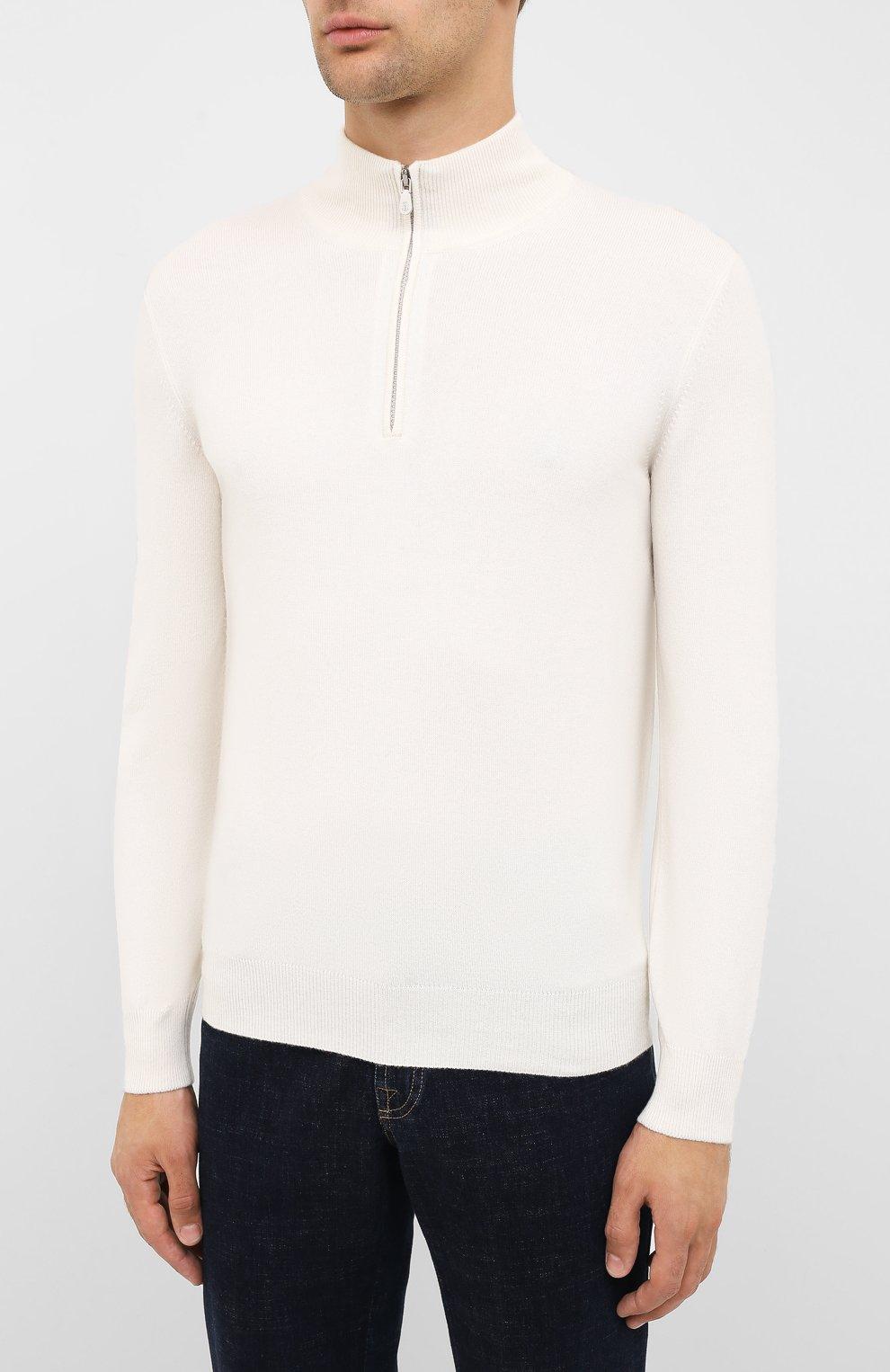 Мужской кашемировый джемпер BRUNELLO CUCINELLI белого цвета, арт. M2200124 | Фото 3