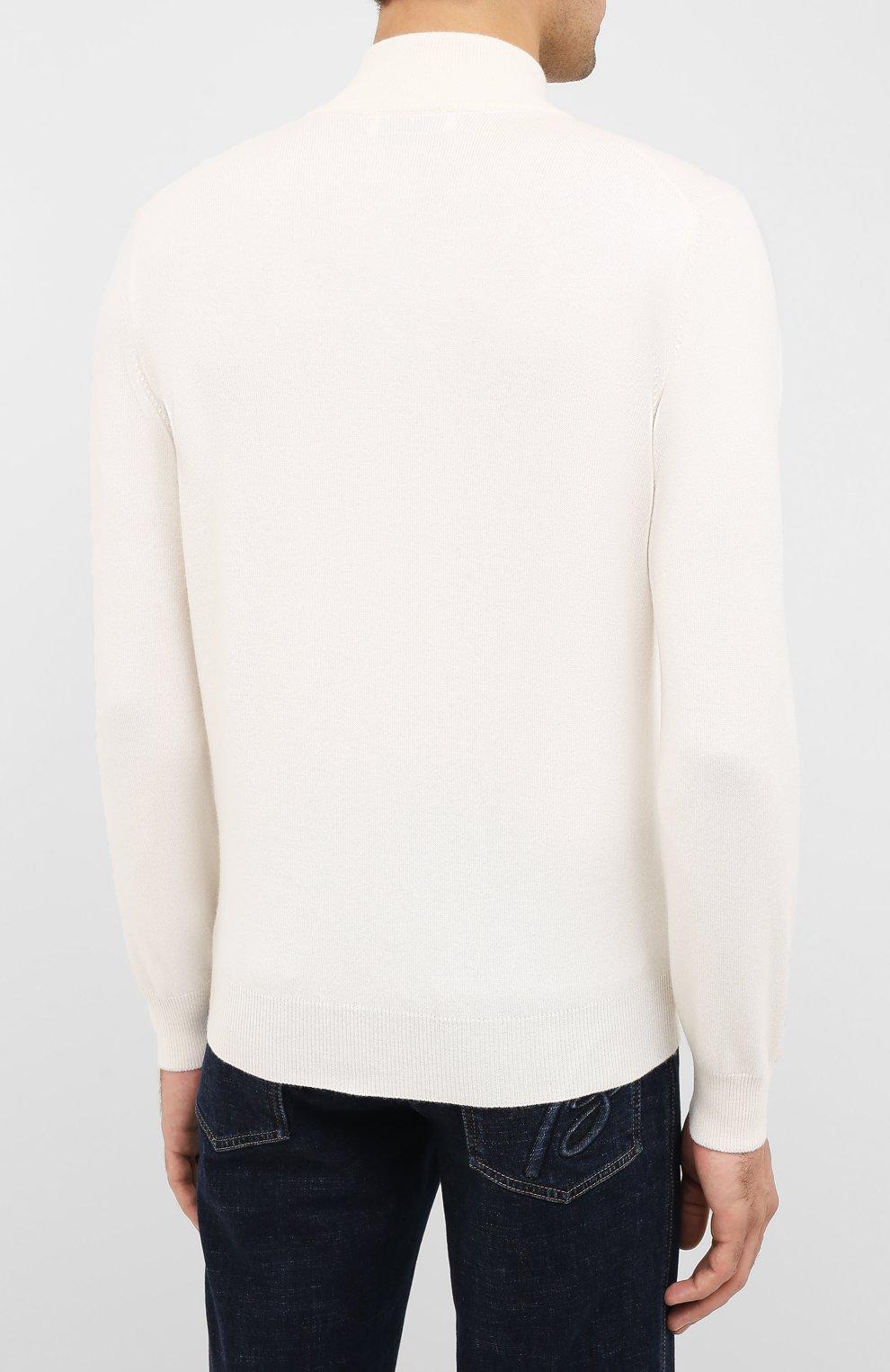 Мужской кашемировый джемпер BRUNELLO CUCINELLI белого цвета, арт. M2200124 | Фото 4