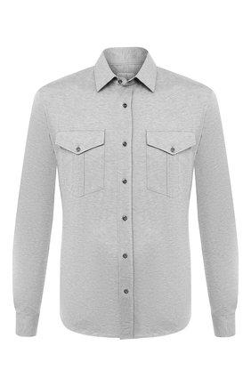 Мужская хлопковая рубашка BRUNELLO CUCINELLI серого цвета, арт. M0T656608 | Фото 1