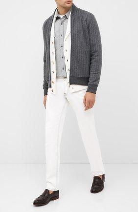 Мужская хлопковая рубашка BRUNELLO CUCINELLI серого цвета, арт. M0T656608 | Фото 2