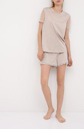 Женская футболка из хлопка и шелка LA PERLA хаки цвета, арт. 0046530   Фото 2