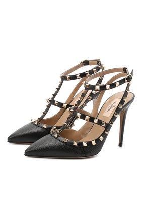 Женская кожаные туфли valentino garavani rockstud VALENTINO черного цвета, арт. UW2S0393/VCE | Фото 1