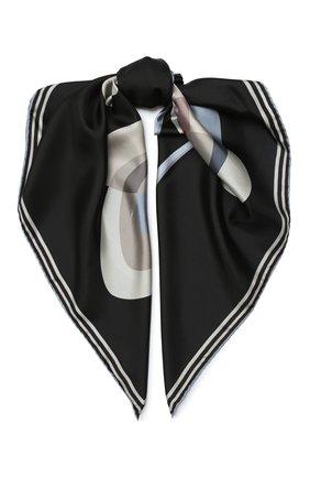 Женский шелковый платок GIORGIO ARMANI черно-белого цвета, арт. 795312/0A146 | Фото 1