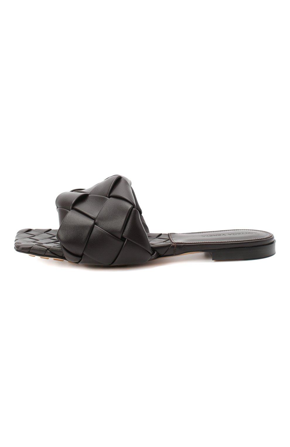 Женские кожаные шлепанцы BOTTEGA VENETA темно-коричневого цвета, арт. 608853/VBSS0 | Фото 3