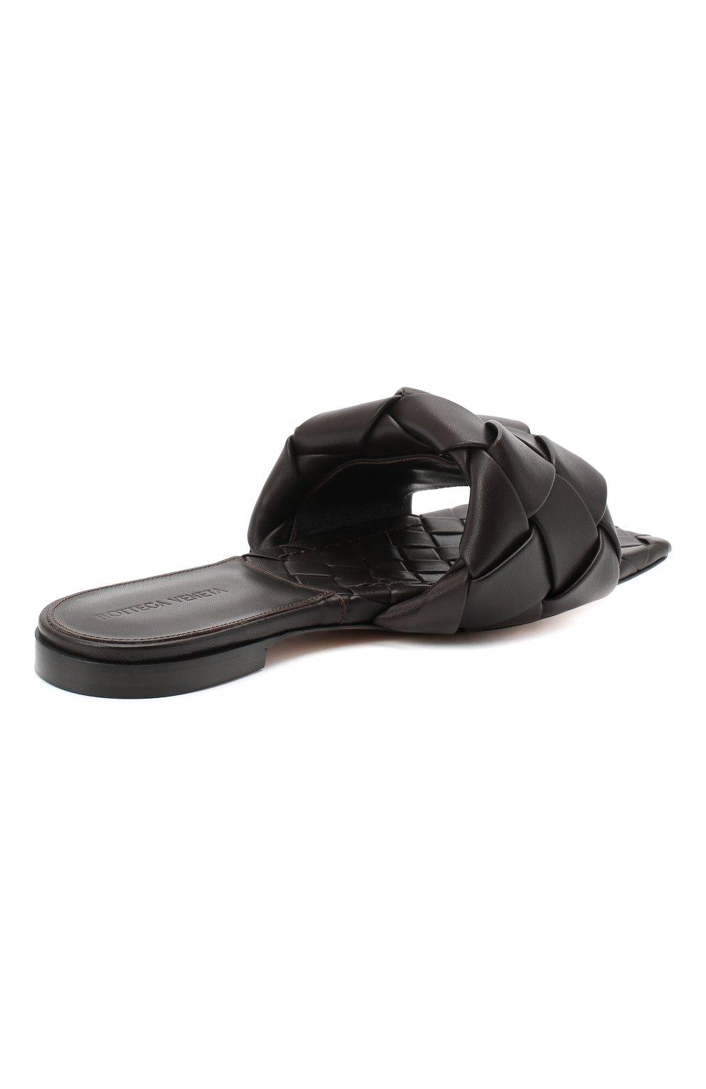 Женские кожаные шлепанцы BOTTEGA VENETA темно-коричневого цвета, арт. 608853/VBSS0 | Фото 4