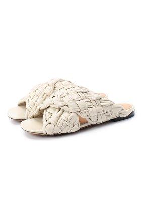 Женские кожаные шлепанцы bv board BOTTEGA VENETA кремвого цвета, арт. 631935/VBT10 | Фото 1
