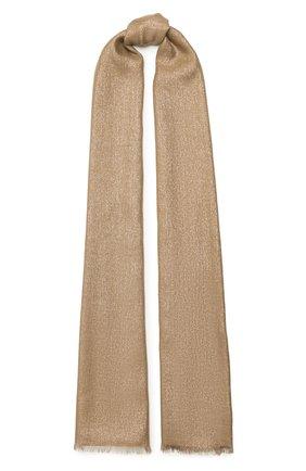 Женский шарф из смеси кашемира и шелка BRUNELLO CUCINELLI золотого цвета, арт. MSCDAR097P   Фото 1 (Материал: Текстиль, Шерсть, Кашемир)