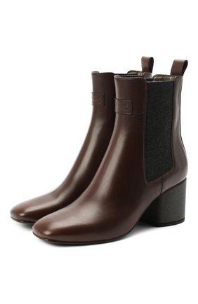 Женские кожаные ботильоны BRUNELLO CUCINELLI темно-коричневого цвета, арт. MZPRC1857P   Фото 1