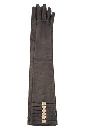 Женские кожаные перчатки GIORGIO ARMANI черного цвета, арт. 794209/0A209 | Фото 1