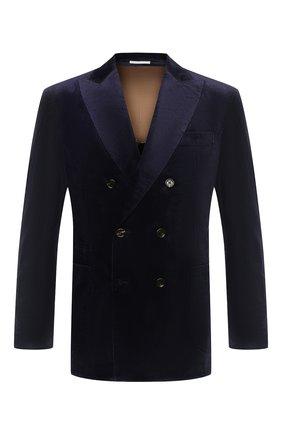 Мужской хлопковый пиджак BRUNELLO CUCINELLI темно-синего цвета, арт. ML4637BBD | Фото 1