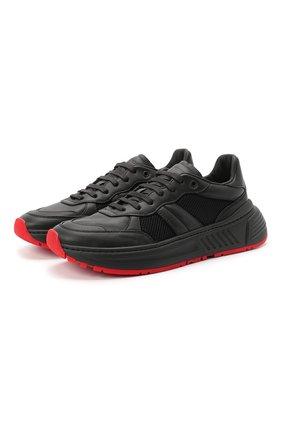 Мужские комбинированные кроссовки BOTTEGA VENETA черного цвета, арт. 565646/VJE21 | Фото 1