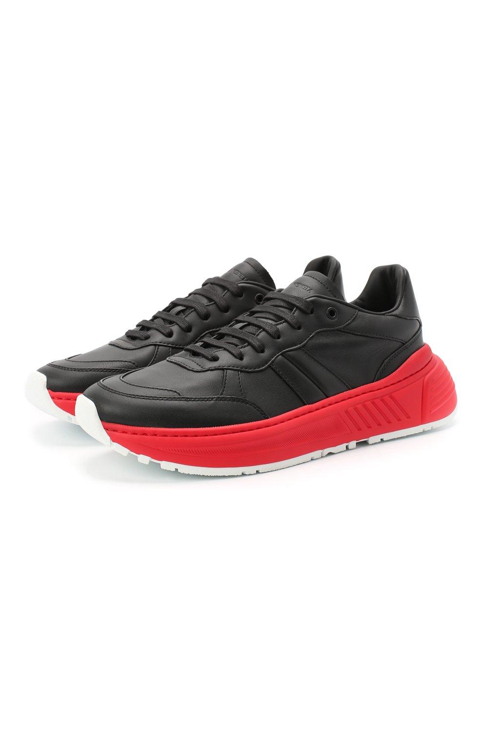 Мужские кожаные кроссовки BOTTEGA VENETA черного цвета, арт. 565646/VT040 | Фото 1 (Материал внешний: Кожа; Материал внутренний: Натуральная кожа; Стили: Гранж; Подошва: Массивная)