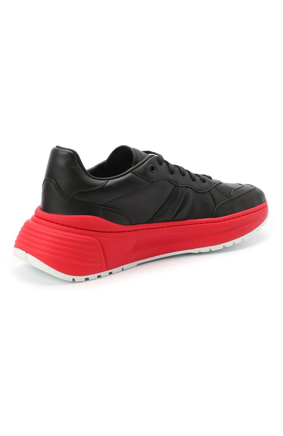 Мужские кожаные кроссовки BOTTEGA VENETA черного цвета, арт. 565646/VT040 | Фото 4 (Материал внешний: Кожа; Материал внутренний: Натуральная кожа; Стили: Гранж; Подошва: Массивная)