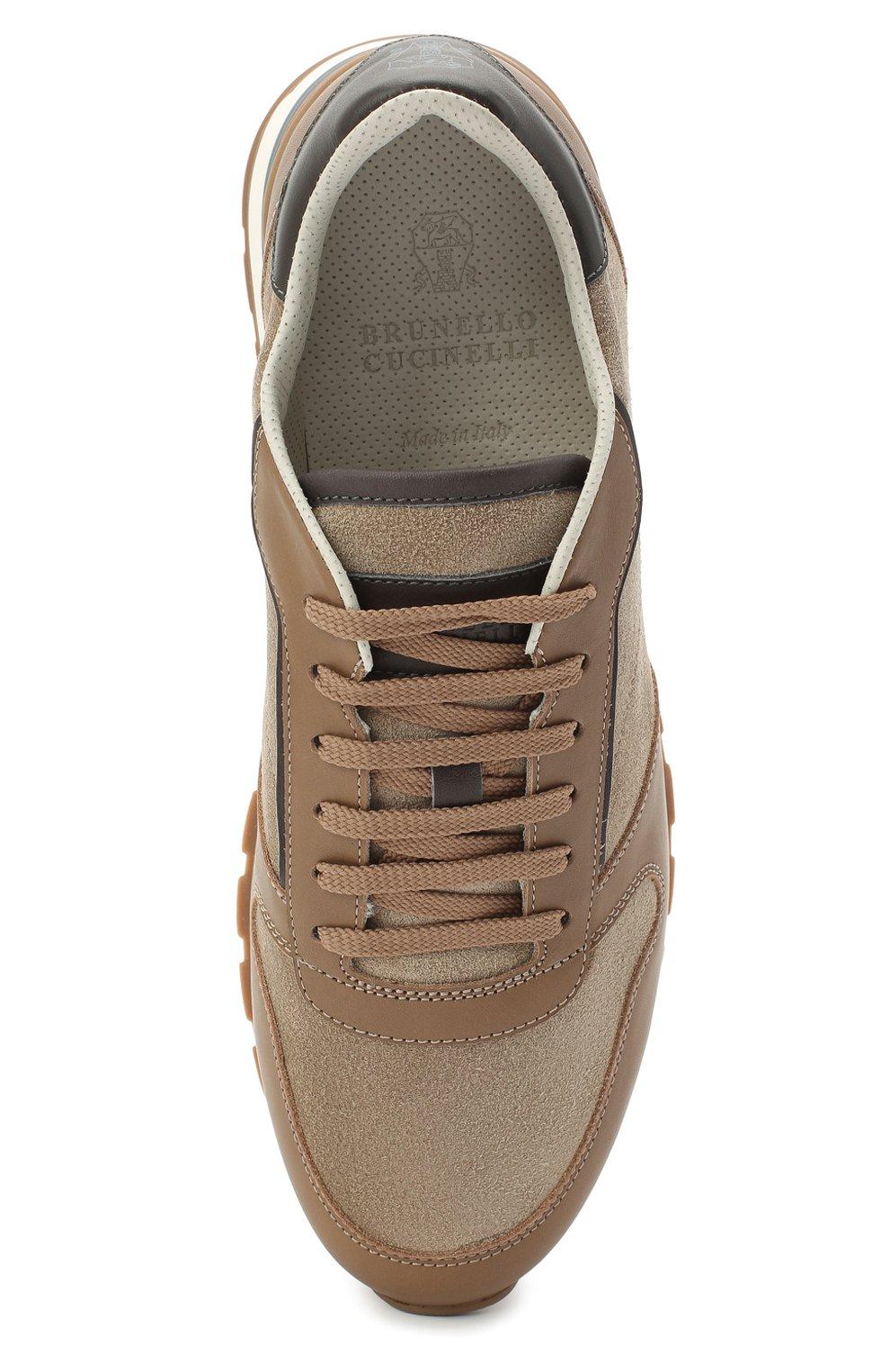 Мужские комбинированные кроссовки BRUNELLO CUCINELLI бежевого цвета, арт. MZUSBBA258 | Фото 5