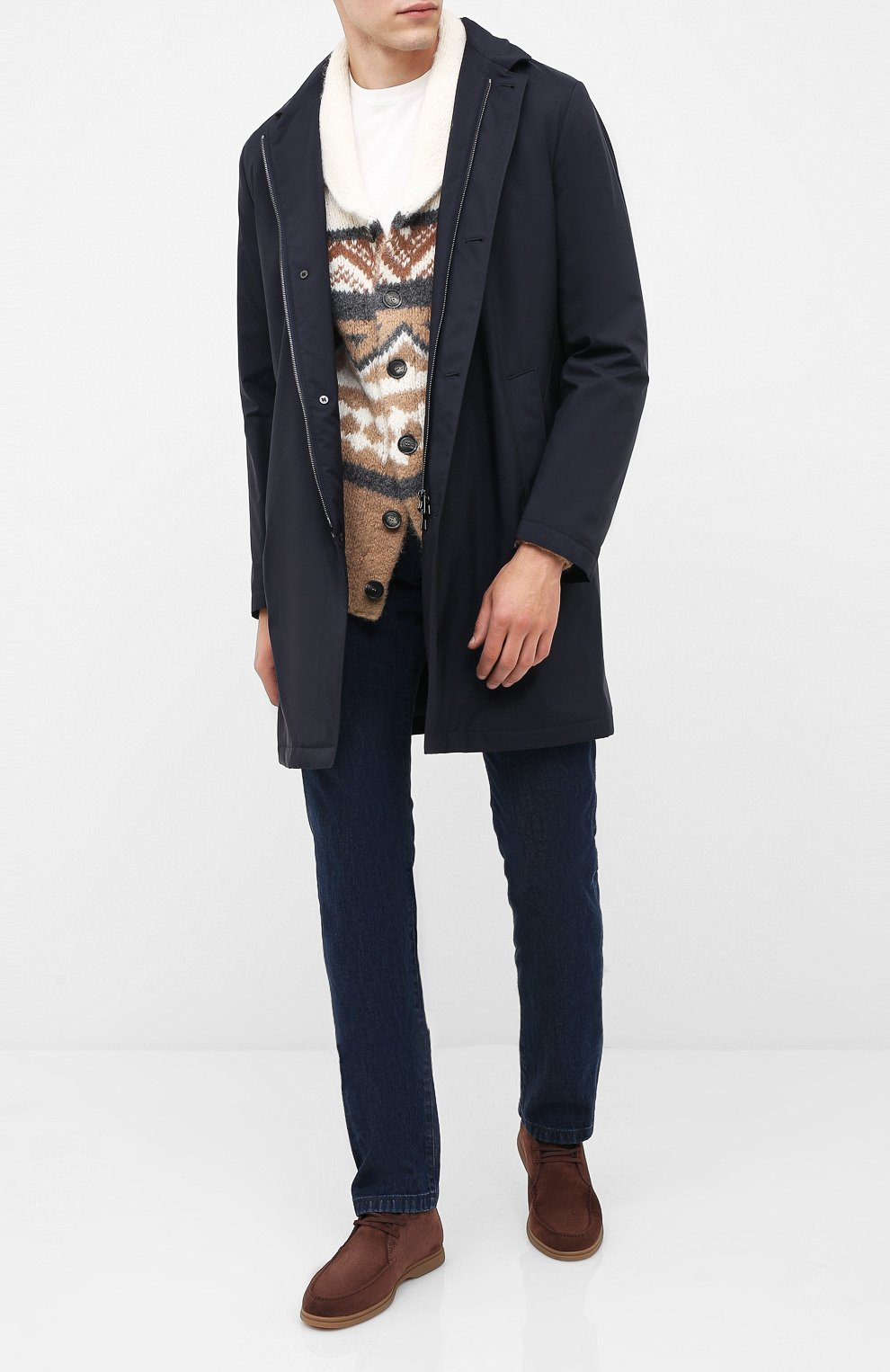 Мужские замшевые ботинки BRUNELLO CUCINELLI коричневого цвета, арт. MZUC0BB857 | Фото 2
