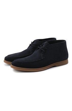 Мужские замшевые ботинки BRUNELLO CUCINELLI темно-синего цвета, арт. MZUC0BB857 | Фото 1