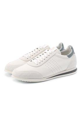 Мужские комбинированные кроссовки BRUNELLO CUCINELLI белого цвета, арт. MZUBLBT257 | Фото 1