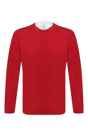 Мужская хлопковый лонгслив BRUNELLO CUCINELLI красного цвета, арт. M0T617433 | Фото 1 (Материал внешний: Хлопок; Принт: Без принта; Длина (для топов): Стандартные; Стили: Кэжуэл; Рукава: Длинные; Мужское Кросс-КТ: Лонгслив-одежда)