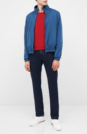 Мужская хлопковый лонгслив BRUNELLO CUCINELLI красного цвета, арт. M0T617433 | Фото 2 (Материал внешний: Хлопок; Принт: Без принта; Длина (для топов): Стандартные; Стили: Кэжуэл; Рукава: Длинные; Мужское Кросс-КТ: Лонгслив-одежда)