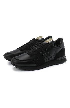Мужские комбинированные кроссовки rockstud valentino garavani VALENTINO черного цвета, арт. UY2S0748/VRJ | Фото 1