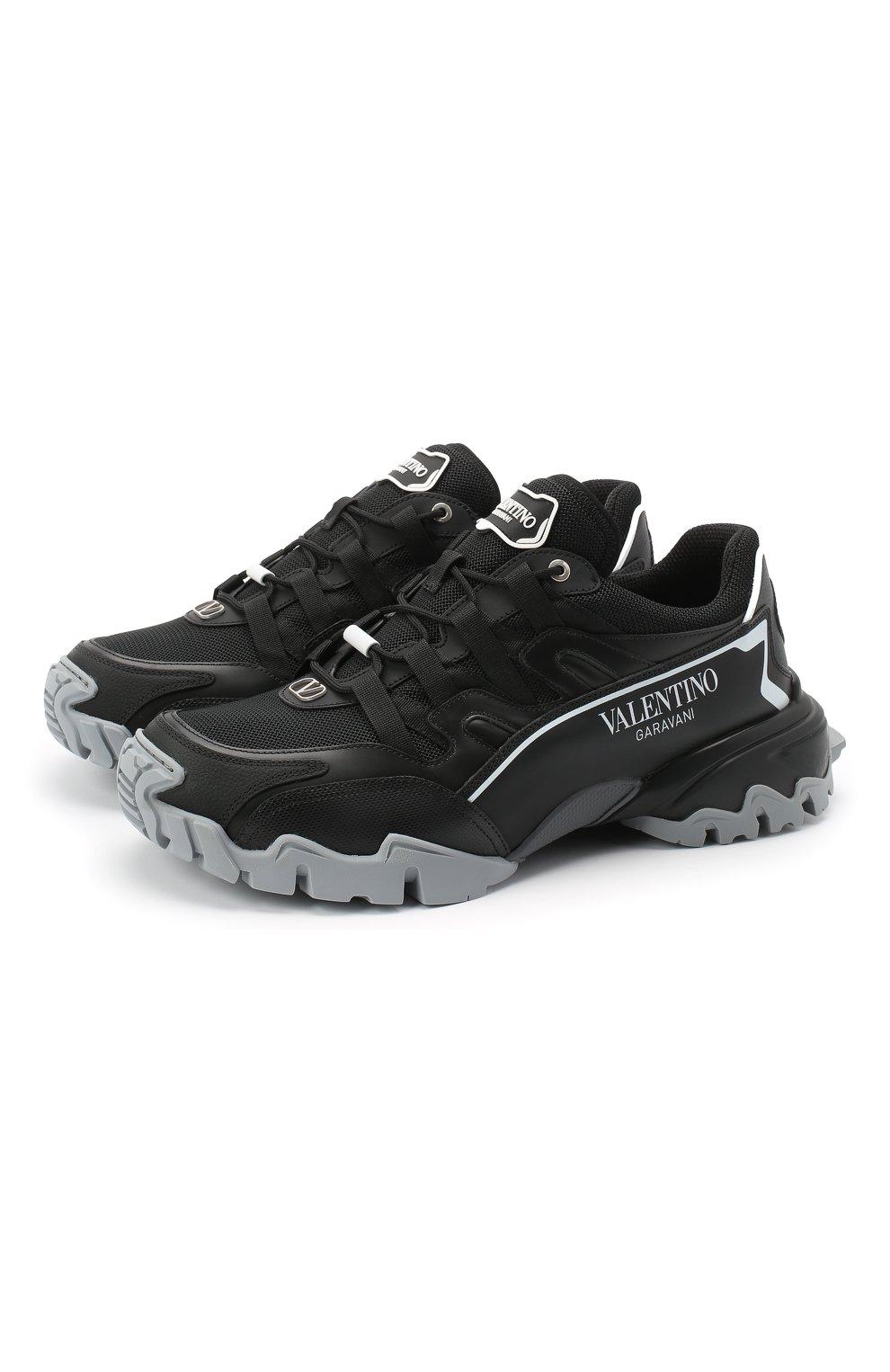 Мужские комбинированные кроссовки valentino garavani climbers VALENTINO черного цвета, арт. UY2S0C20/DRZ | Фото 1