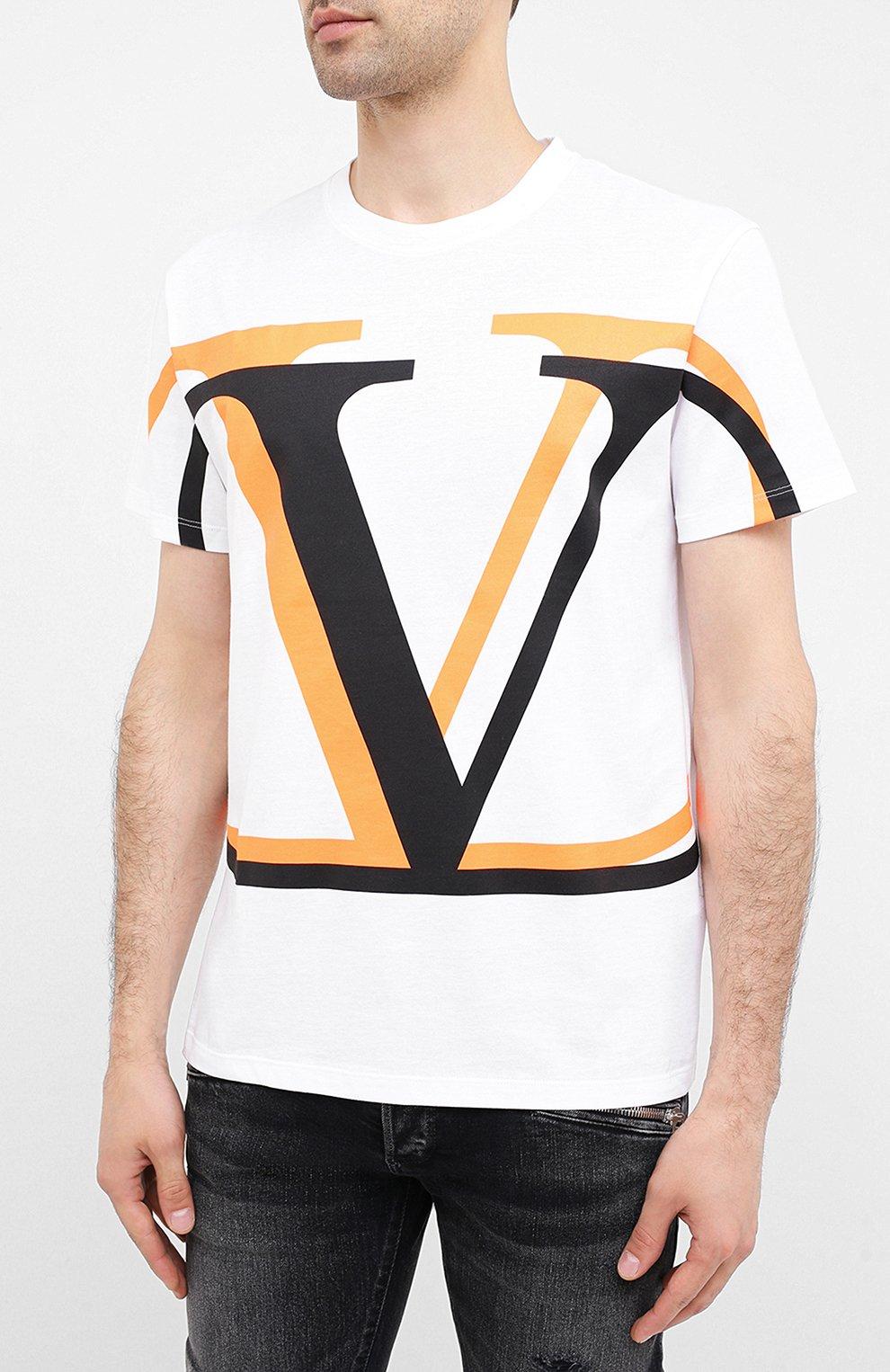 Мужская хлопковая футболка VALENTINO белого цвета, арт. UV3MG08C6K7   Фото 3 (Рукава: Короткие; Длина (для топов): Стандартные; Мужское Кросс-КТ: Футболка-одежда; Материал внешний: Хлопок; Стили: Кэжуэл)