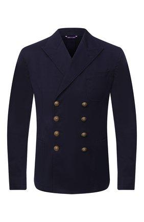 Мужской хлопковый пиджак RALPH LAUREN темно-синего цвета, арт. 798797944 | Фото 1
