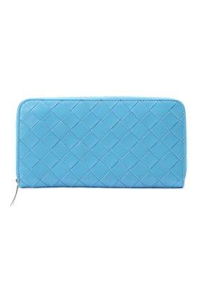 Женские кожаный кошелек BOTTEGA VENETA синего цвета, арт. 608051/VCPP2 | Фото 1