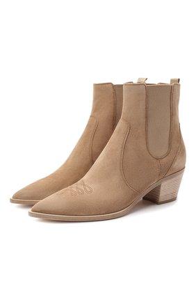 Женские кожаные ботинки romney 45 GIANVITO ROSSI бежевого цвета, арт. G70343.45CU0.CASBISQ | Фото 1